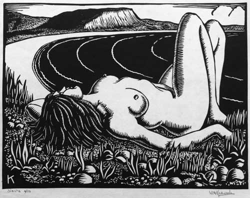 William Kermode Grosvenor School Artist Linocut nude Print Robert Perera Fine Art