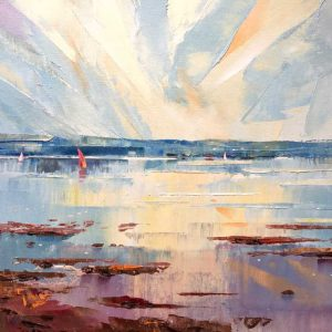 Richard Tratt SWLA Red Sail on the Solent Original signed Oil Painting - Framed